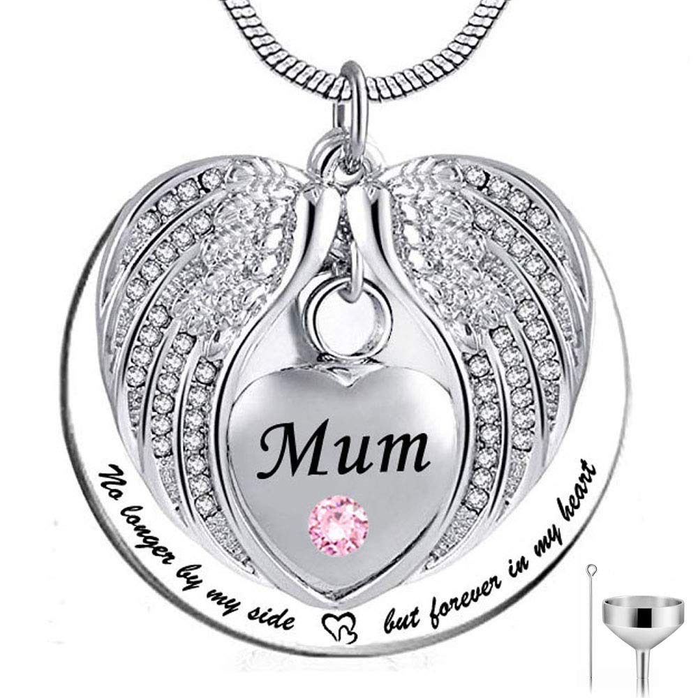HQ No Longer by My Side Mum but Forever in My Heart Stainless Steel Memorial Cremation Urn Pendants Necklace for Ashes