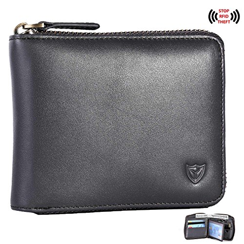 RFID Men's Leather Zipper wallet Zip Around Wallet Bifold Multi Card Holder Purse (Zip Card)