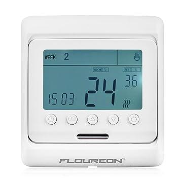 Controlador de temperatura y termostato de calefacción central FLOUREON. Termostato para calentar el