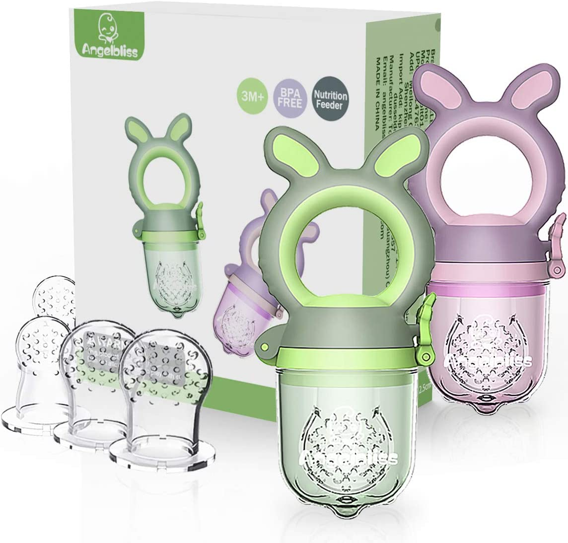 ANGELBLISS Baby Food Feeder Pacifier,Organic/Fresh Food Feeder for 3-24 Months Infant&Newborn&Toddlers Weaning ,6 Silicone Sac (Green/Purple 2 Pack) ...