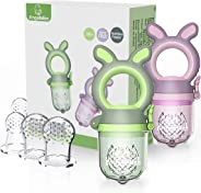 ANGELBLISS Baby Food Feeder Pacifier,Organic/Fresh Food Feeder for 3-24 Months Infant&Newborn&Toddlers Weaning ,6 Silicone Sa
