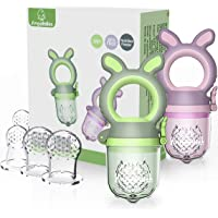ANGELBLISS Baby Food Feeder Pacifier,Organic/Fresh Food Feeder for 3-24 Months Infant&Newborn&Toddlers Weaning ,6 Silicone Sac (Green/Purple 2 Pack) BPA Free