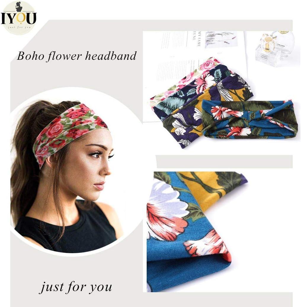 in cotone Iyou sportivi con fiore Fascia per capelli in stile boho per yoga per donne e ragazze confezione da 4