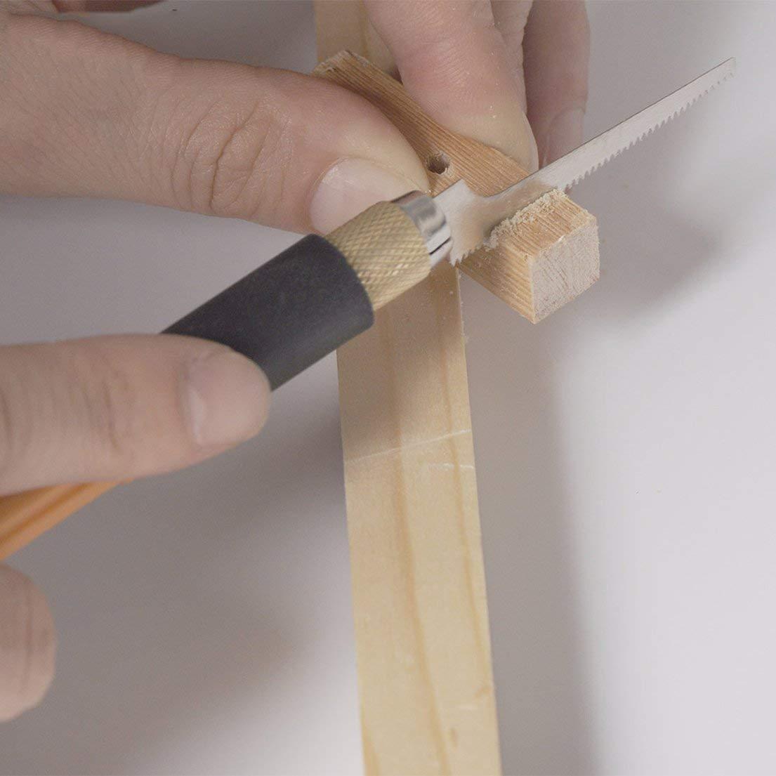 DF-ES Mini DIY WoodWorking Sierras de mano Sierra de acero Diente fino Mango de madera Sierra de triple velocidad modelo peque/ña sierra color: amarillo