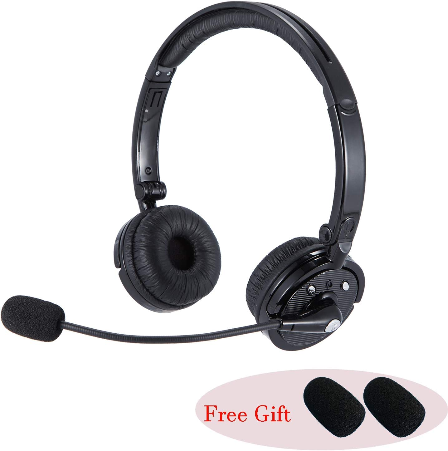 Premium Wireless Bluetooth Headset, Noise Cancellation Head Set with Microphone Hands Free On Ear Phone Headset Clear Sound, Long Battery Life, No Wires