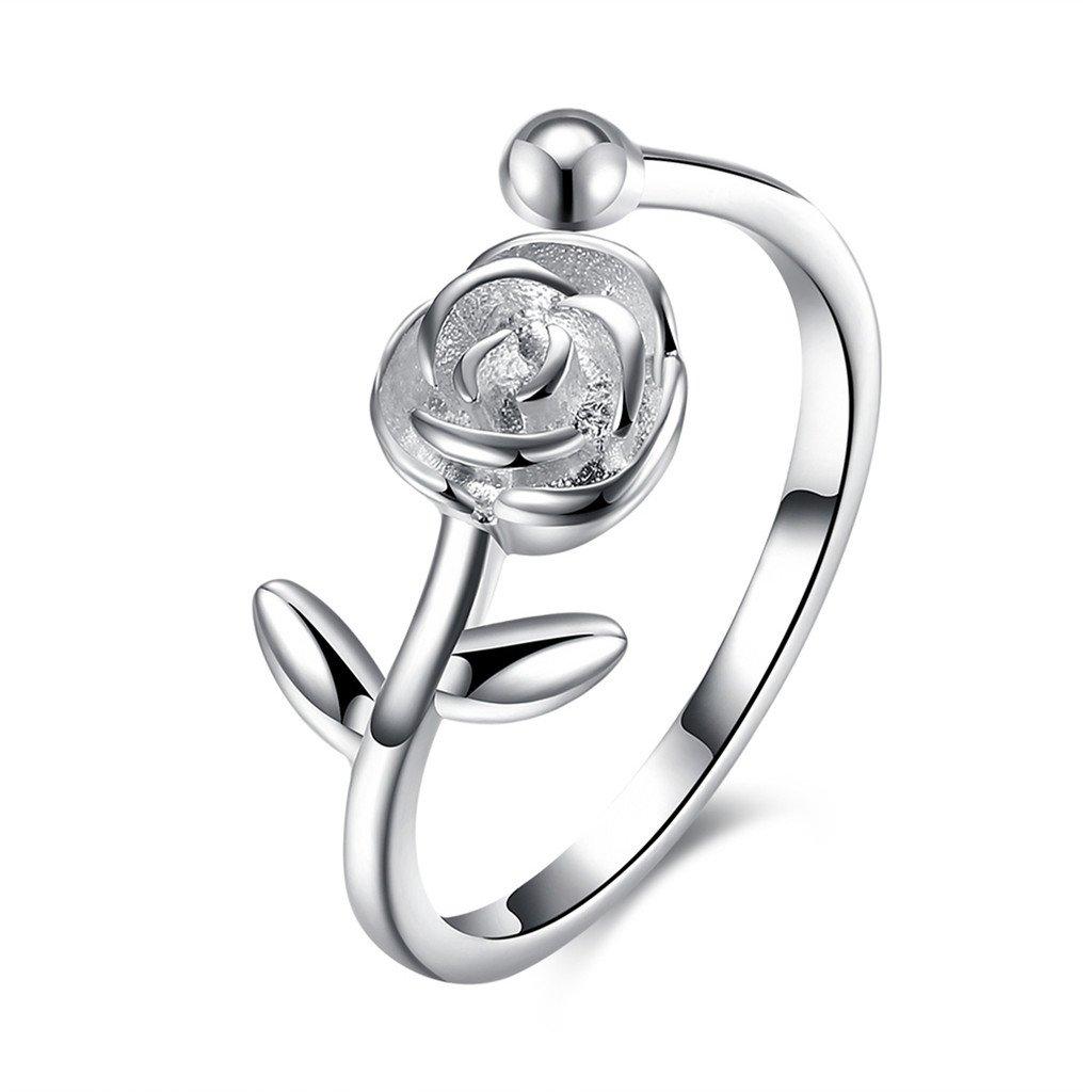 HMILYDYK - Bague de fiançailles pour femme en argent sterling 925 - En forme de rose - Style vintage/classique - Ajustable GUSVR097