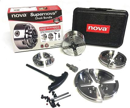 NOVA 23055 SUPERNOVA 2 CHUCK WITH 2 JAWS with ILNS 1-1//4 x 8tpi Insert NOVA CHUCK SPUR /& INSERT WOODWORM SCREW