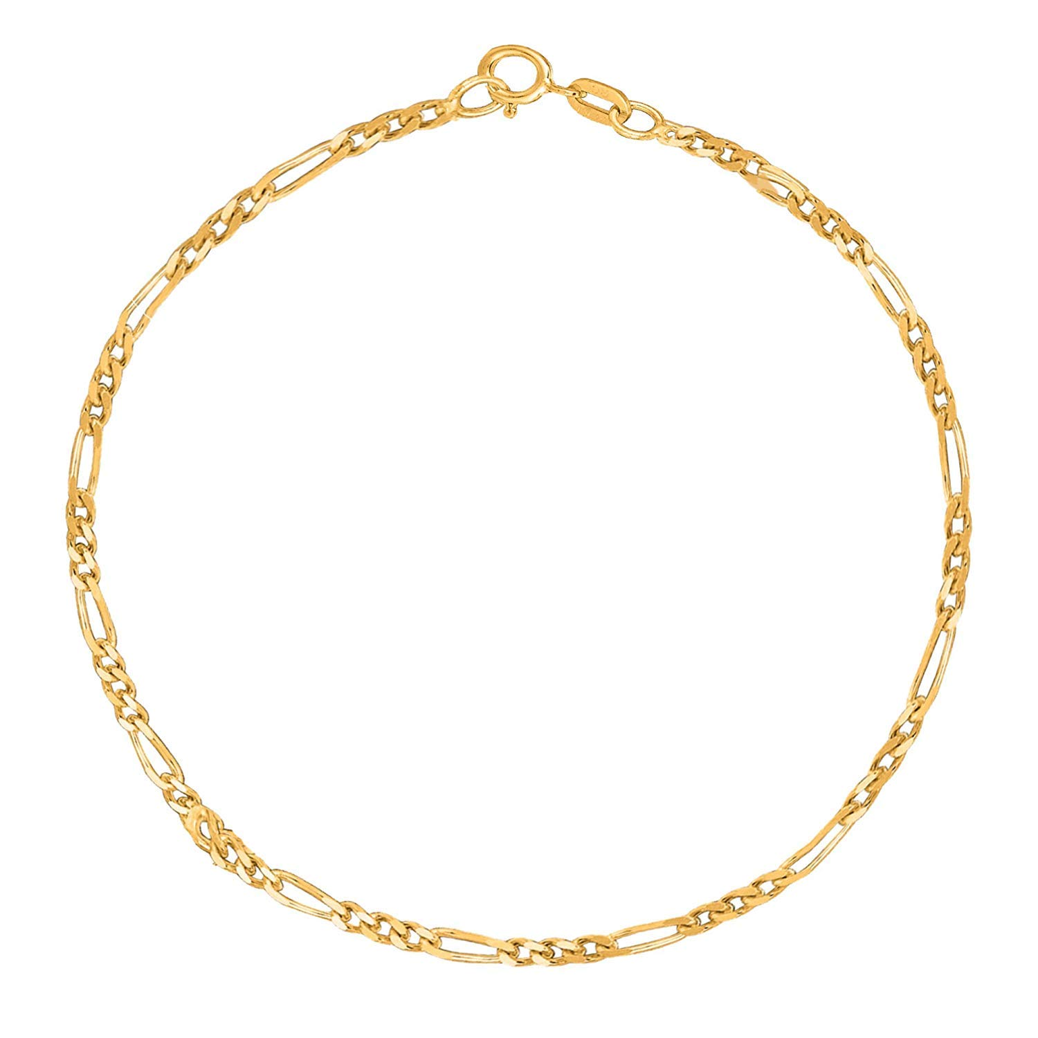 14K Yellow Or White Gold 1.9mm Diamond-Cut Alternate Classic Figaro Chain Necklace Or Bracelet/Foot Anklet for Pendants and Charms with Spring-Ring Clasp (7'', 10'', 13'', 16'', 18'', 20'' or 24 inch)