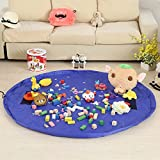 Coofone Large 59 Inches Children's Play Mat & Toys Storage Bag - Toys Organizer Quick Pouch Portable Kids Toy Quick Organizer Storage Bag Play Mat For Lego (Blue)