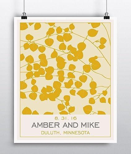 Amazon.com: Personalized Wedding Decor - Aspen Leaf Wall Art Poster ...