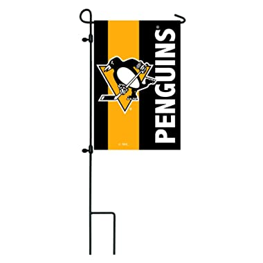Team Sports America Pittsburgh Penguins Outdoor Safe Double-Sided Embroidered Logo Applique Garden Flag, 12.5 x 18 inches