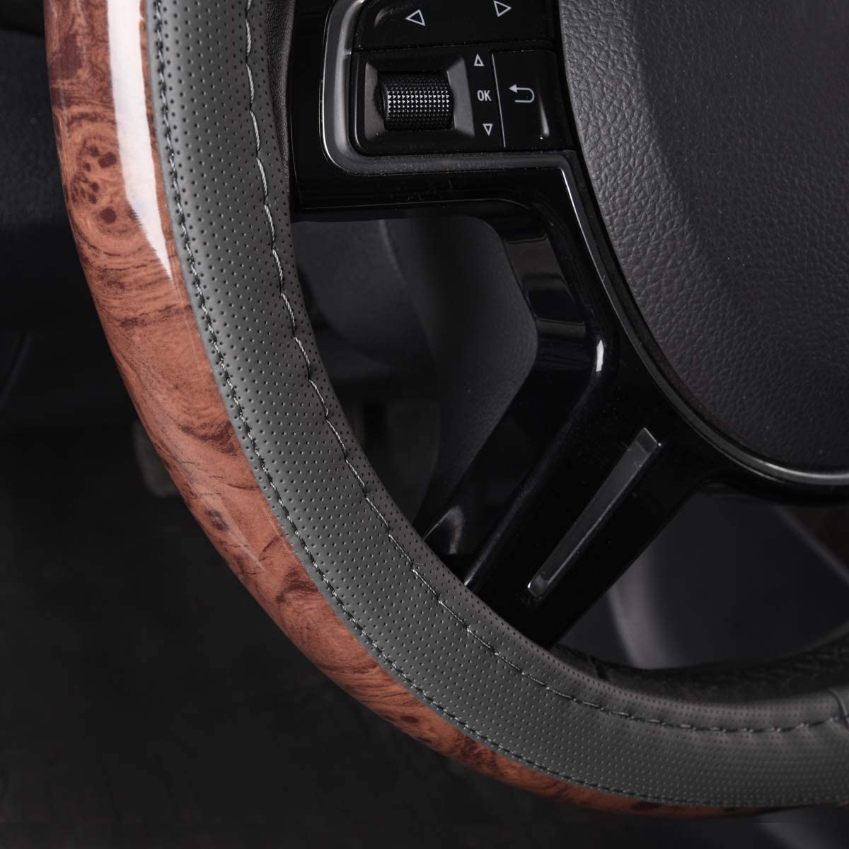 Design Antiscivolo CAR PASS Camion berlina Adatto per SUV Coprivolante Universale in Pelle con venature del Legno