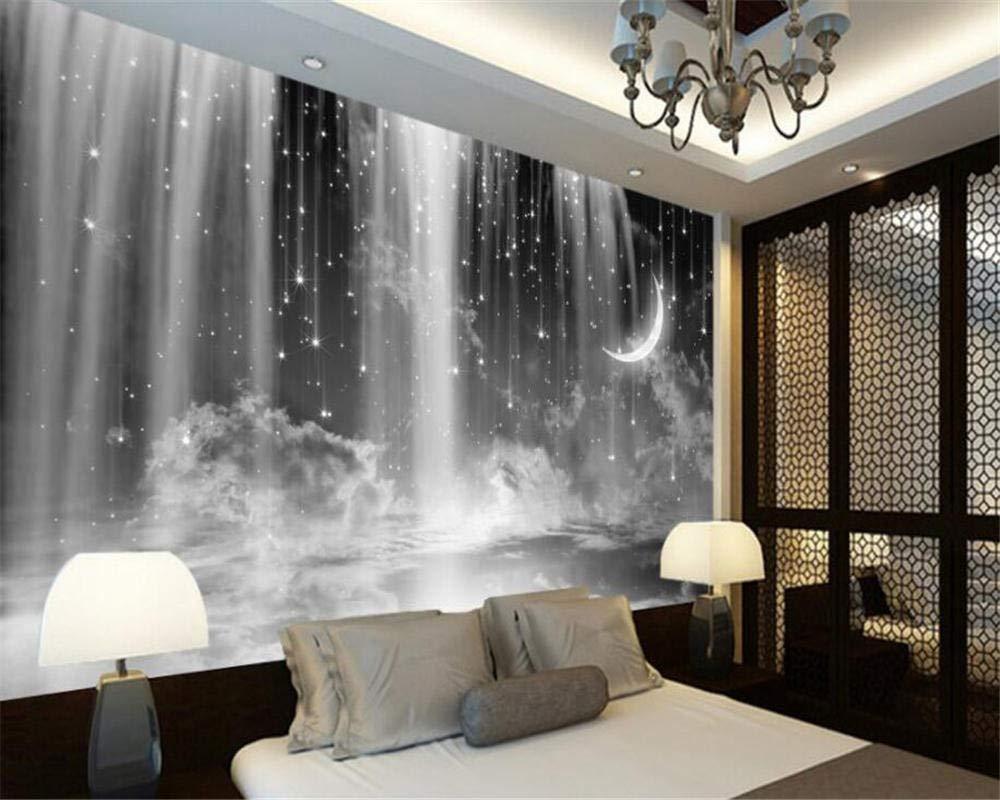 Carta Da Parati 3D Cascata in bianco e nero stellata/ Salotto Camera da letto Ufficio Corridoio Decorazione Murali Poster Gigante Design Carta per pareti natura