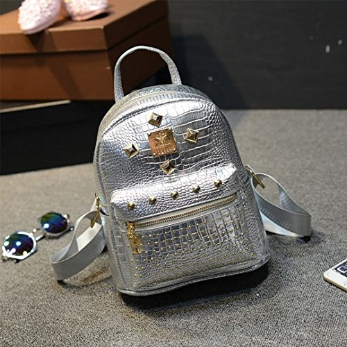 Backpack Shiny School PU Leather Satchel 2037 Unisex Silver Hologram Candice Bag Shoulder Bag Holographic zUnq5vxf