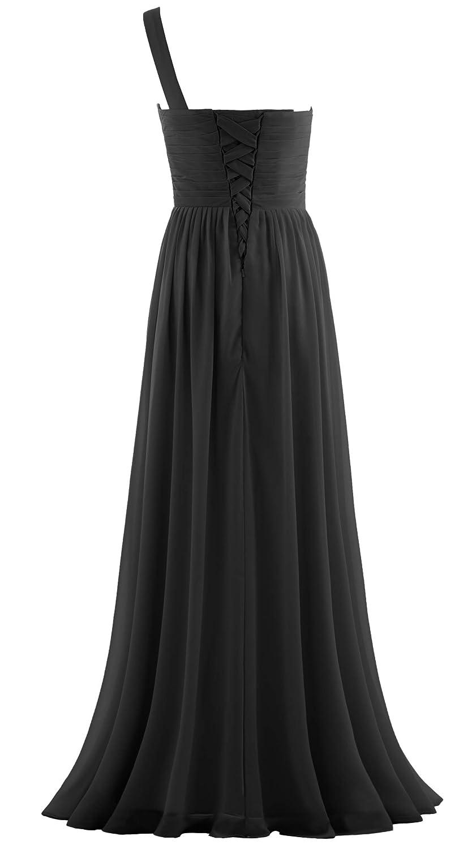 aec8f29d86 ANTS Women's Pleat Chiffon One Shoulder Bridesmaid Dresses Long ...