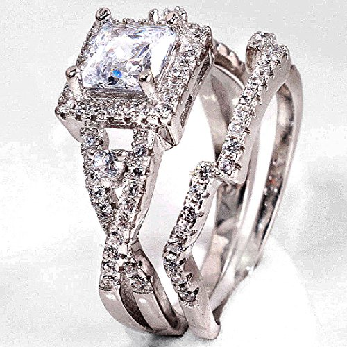 2ct Dazzling Topaz Simulated Diamond 925 Silver Cross engagement Wedding Band Ring Set Sz 5-10 (8)