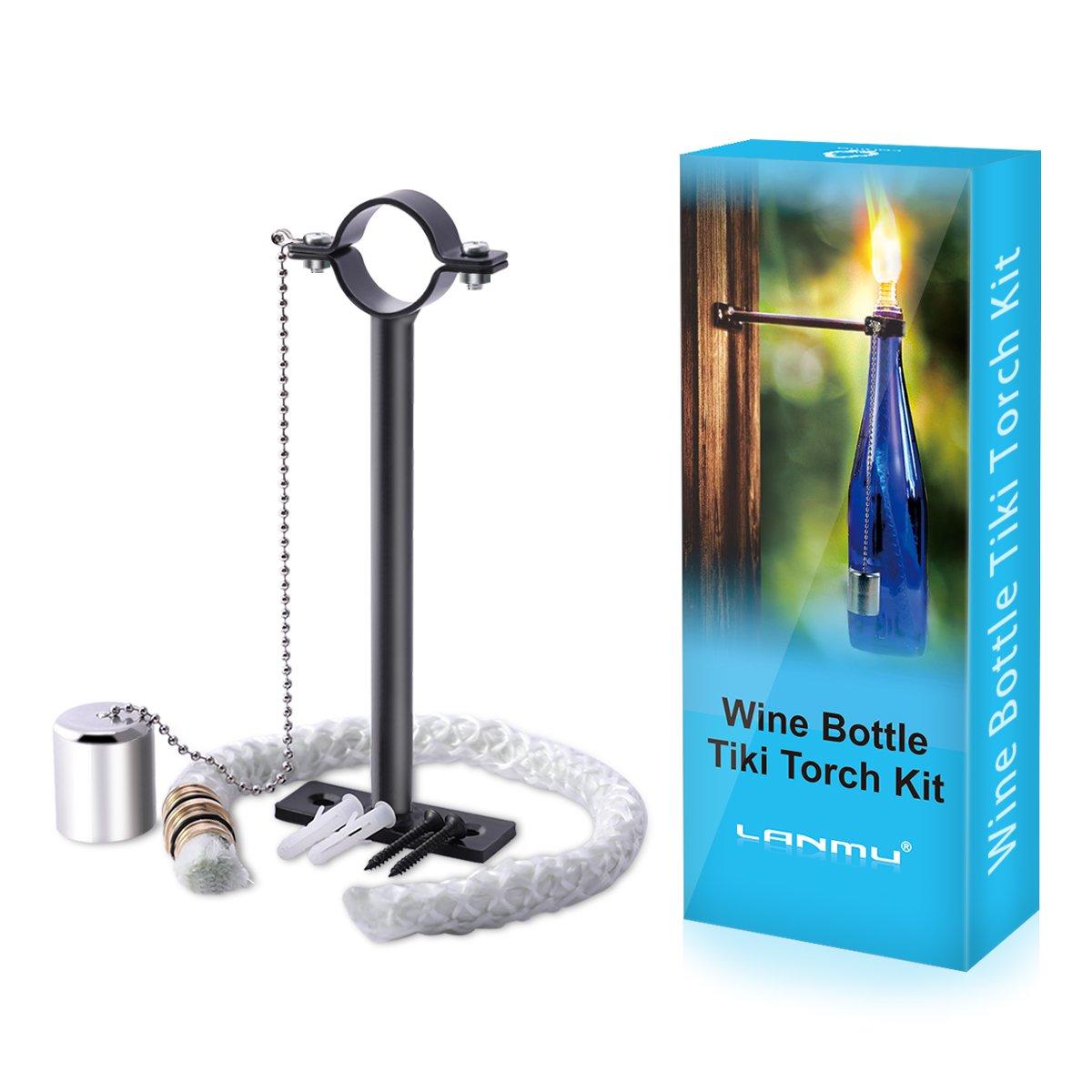 LANMU Wine Bottle Tiki Torch Kit,Tiki Wick Bottle Torch Holder,DIY Home Decor Kit,Tiki Bar Lighting,Outdoor Torches,Glass Bottle Light for Wine Bottles