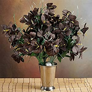 144 Wholesale Artificial Silk Amaryllis Flowers Wedding Vase Centerpiece Decor - Chocolate 9