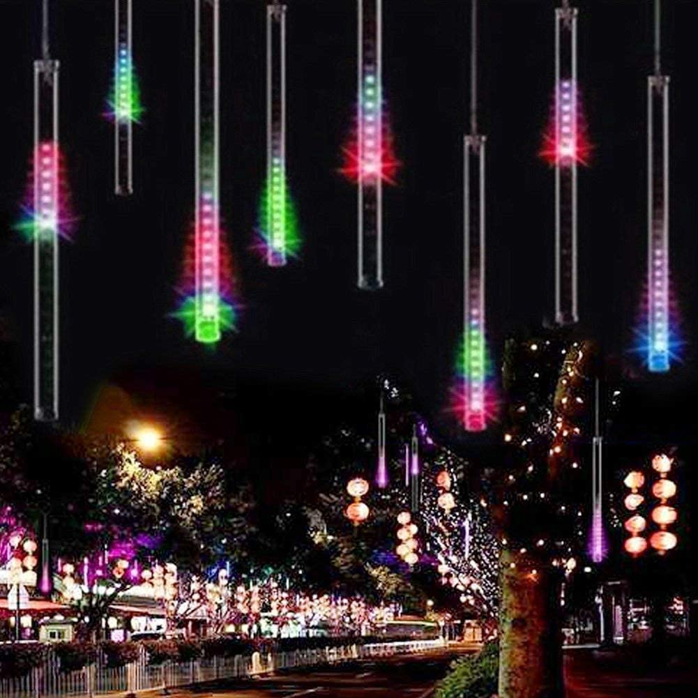 Adecorty Falling Rain Lights Meteor Shower Lights Christmas Lights 30cm 8 Tube 144 LEDs, Falling Rain Drop Icicle String Lights for Christmas Trees Halloween Decoration Holiday Wedding (Multi Color)