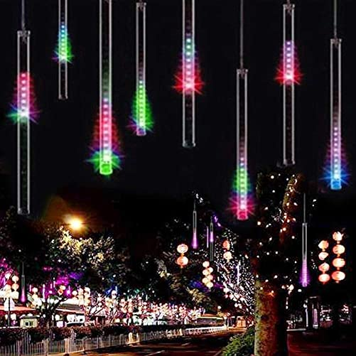 Adecorty Falling Rain Lights Meteor Shower Lights Christmas Lights 30cm 8 Tube 144 LEDs, Falling Rain Drop Icicle String Lights for Christmas Trees Halloween Decoration Holiday Wedding Multi Color