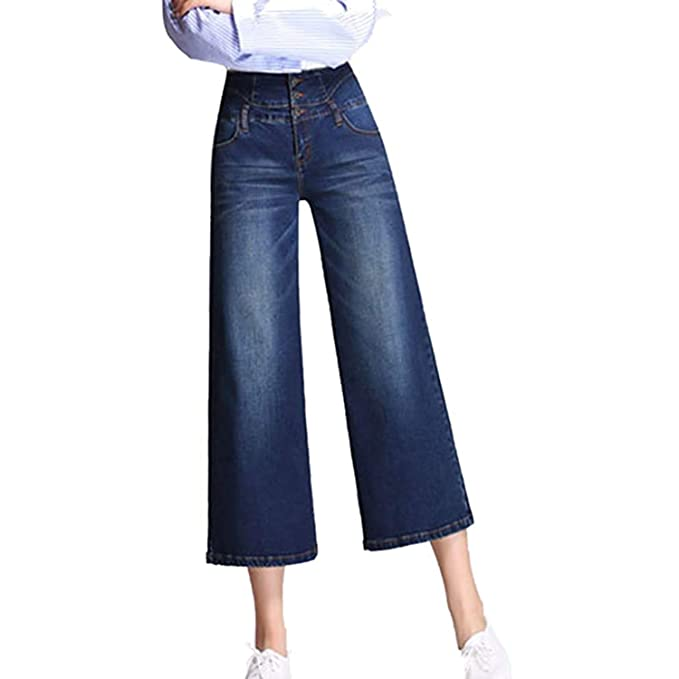 Minghe Womens High Waisted Wide Leg Jeans Stretch Denim Cropped Pants for Women