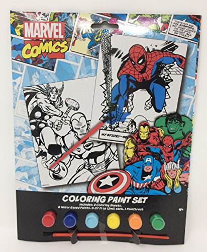 Spider Man Paint (Marvel Comics Coloring Paint Set with Iron Man, Spiderman, and Thor)