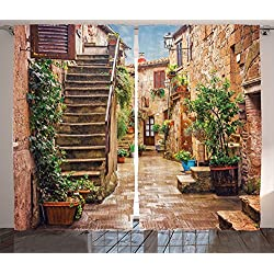 Tuscan Decor Curtains by Ambesonne, View of Old Mediterranean Street with Stone Rock Houses Italian City Rural Culture Print, Window Drapes 2 Panel Set, Living Room Bedroom, 108 W X 84 L Inches, Multi