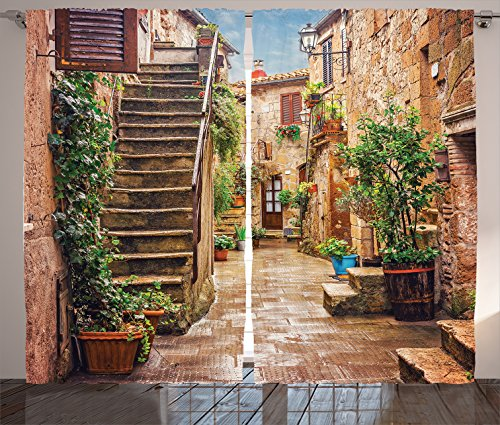 Ambesonne Tuscan Decor Curtains, View of Old Mediterranean Street with Stone Rock Houses Italian City Rural Culture Print, Window Drapes 2 Panel Set, Living Room Bedroom, 108 W X 84 L Inches, Multi