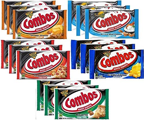 Combos Baked Snacks Pretzel and Cracker Variety Pack 1.7 Ounce Bags (15 Pack) - Mars Pretzel Combos