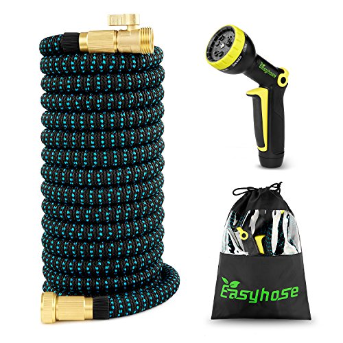 Easyhose Water Hose-25ft Lightweight Expandable Garden Hose-No Twist&Kink-Brass End Fittings+2017 New Design 9 Pattern Free Bonus Spray Nozzle with Storage Bag for Home&Garden Use (25ft, Black+Blue)