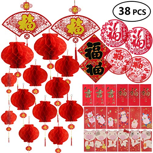 Chinese New Year Decoration - Paper Red Lantern Red Envelopes Hong Bao Chinese Fu Character Paper Window - Spring Festival Party Decor [38 pieces] -