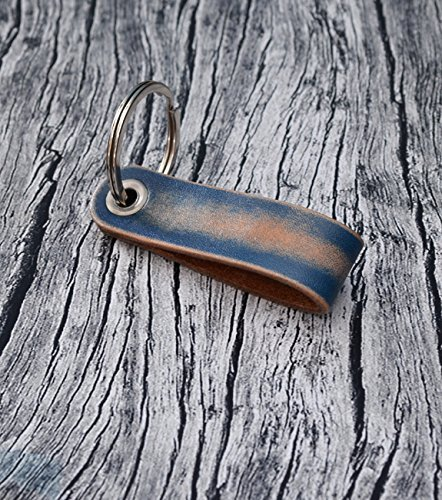 Blue Leather Keychain // Leather Key Holder - Leather Keychain - Key Ring - Leather Key Fob - Mens Keychain - Leather Key Chain