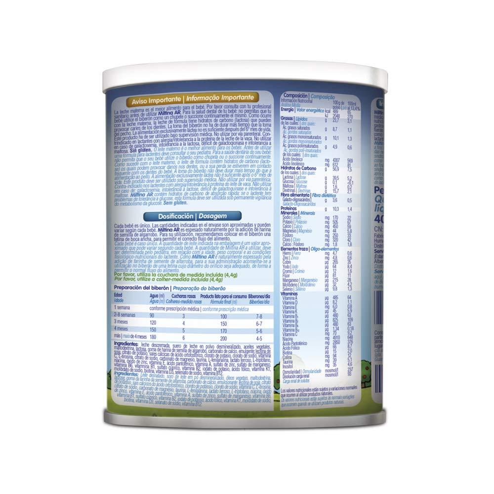 MILTINA AR, leche especial en caso de reflujo gastroesofágico desde el nacimiento, 400g: Amazon.es: Alimentación y bebidas