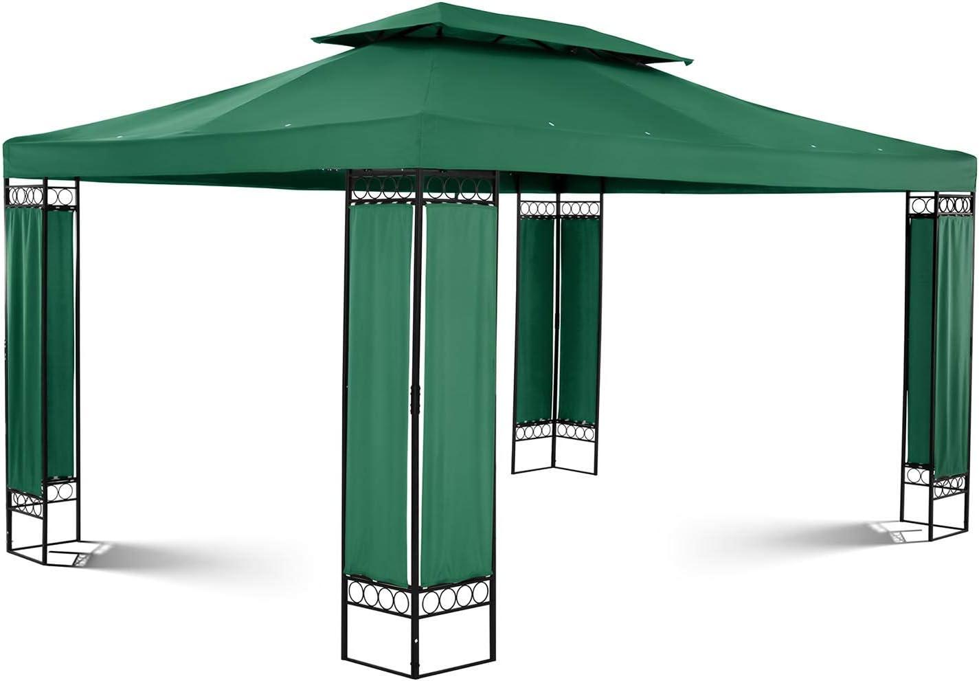 Uniprodo Pérgola De Metal Pabellón para Terraza Uni_PERGOLA_3X4GF (Toldo de 3 x 4 m, 160 g/m², Altura Total: 2, 60 m, Verde Oscuro): Amazon.es: Jardín