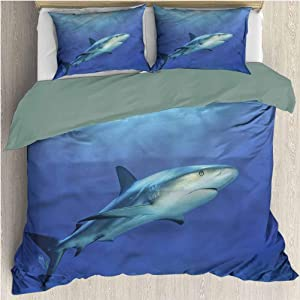 HELLOLEON Shark Extra Large Quilt Cover Exotic Dreamy Ocean Life Can be Used as a Quilt Cover-Lightweight (King)