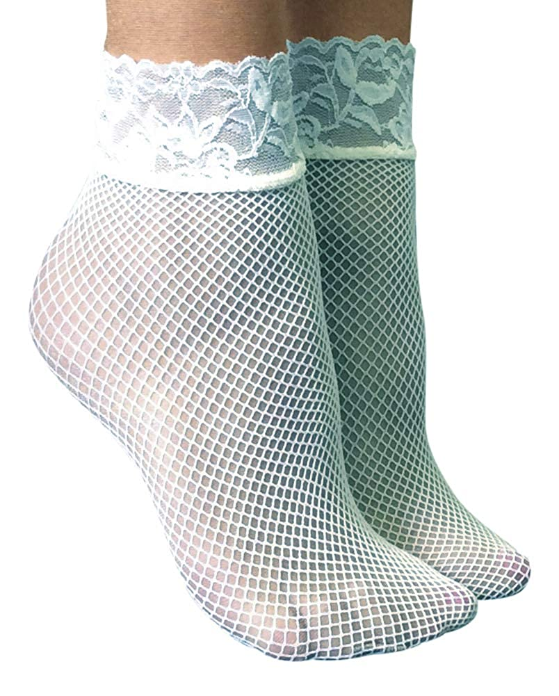 71ecf9dc4489e Sock Snob - 2 Pack Womens Fishnet Ankle Socks with Lace 5-9 US (Dark Green)  at Amazon Women's Clothing store: