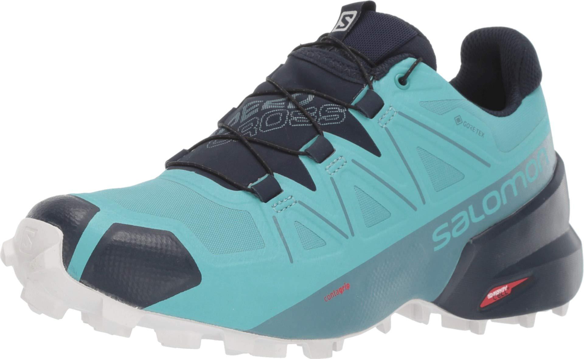 Salomon Women's Speedcross 5 GTX Trail Running Shoes, Meadowbrook/Navy Blazer/White San, 10.5 by SALOMON