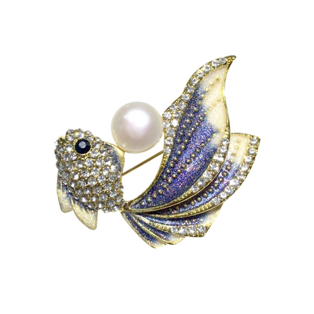 Freshwater Pearl Brooch Pins - Rhinestone and Crystal Fish Pin Silver Tone Enamel with Aqua Blue for Wedding Bridal