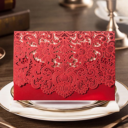 WISHMADE 20 Chinese Style Red Laser Cut Wedding Invitation with Lace Design, Printable Blank Engagement Invites with Envelope, for Bridal Shower Wedding Anniversary CW057 (Best Printer For Printing On Cardstock 2019)