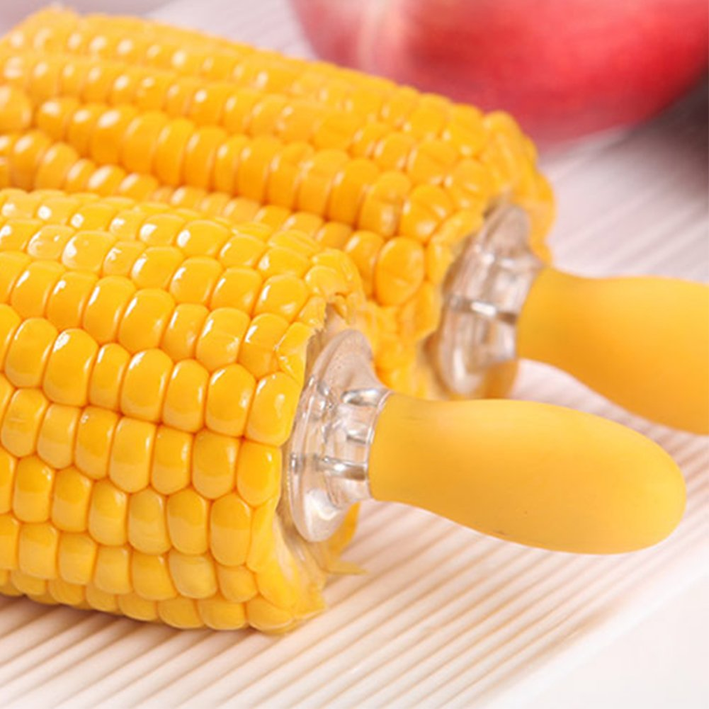 6pcs Stainless Steel Corn Fork On The Cob Skewers Holders Bbq Prongs Forks Garden Party Reuseable Non Slip Food Holder Grips For Holiday Silicone Handle Perfect Home Cooking Large Pin Grill Yellow Fruit Hot Dog Meat Kitchen Accessories Skewer Portable Hig