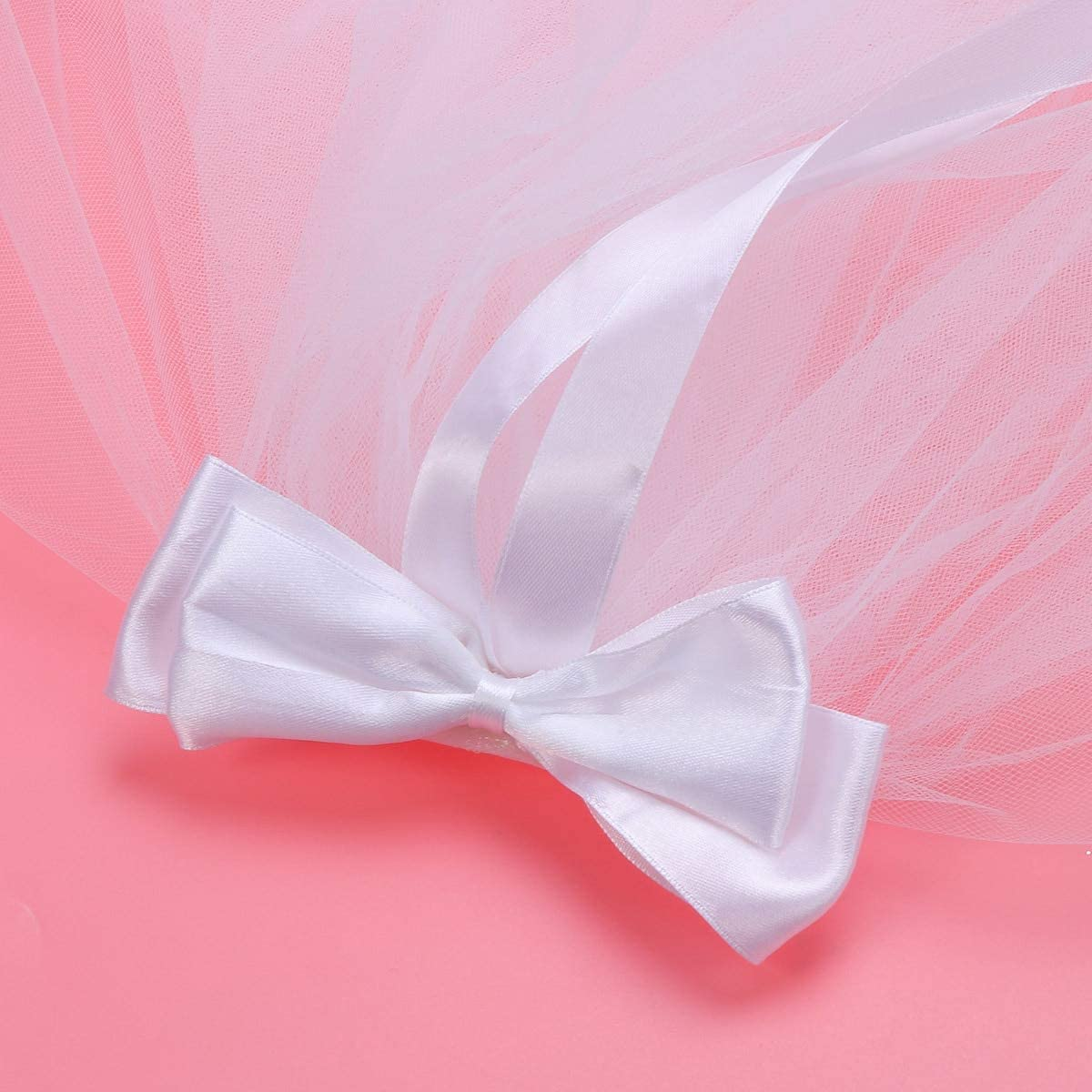 LoLa Ling Four Layers White Bowknot Delicate Flower Girl Veils Wedding Veils Lace Veils for Cosplay Communion Engagement Photography