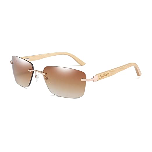 835fc223971a Bamboo Wood Arms Rimless Sunglasses Men Women Driving Glasses By Long  Keeper (Brown)
