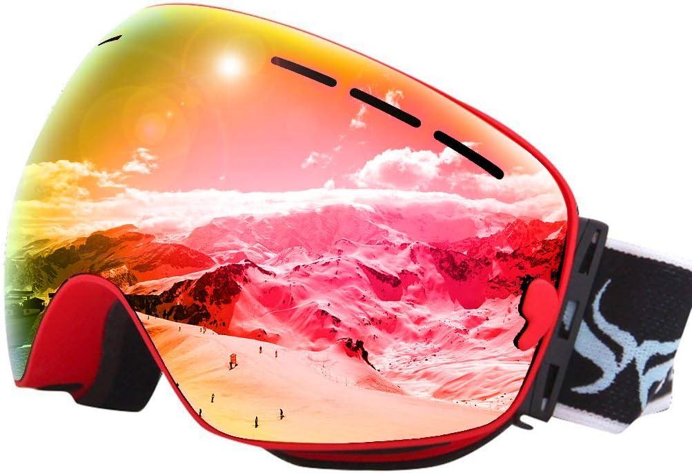 JoySki Ski Goggles Snowboard Goggles with Anti-Fog UV Protection OTG Design Helmet Compatible for Men Women Original Box Include