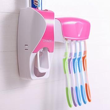 uyikoo Mini fácil de instalar automático a prueba de polvo kit de pasta de dientes dispensador