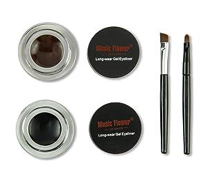 Frola 2 In 1 Long-wear Gel Eyeliner Smudge-proof & Waterproof, 2 Pieces Eye Makeup Brushes Included (#3 Black+Brown)