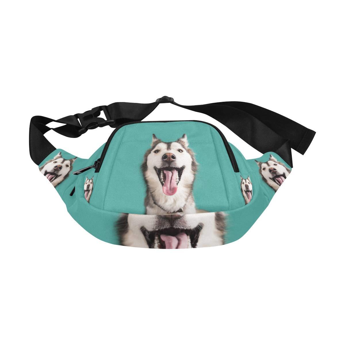 Funny Close-up Siberian Husky Fenny Packs Waist Bags Adjustable Belt Waterproof Nylon Travel Running Sport Vacation Party For Men Women Boys Girls Kids