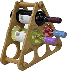 Home Basics 9-Slot Foldable Tiered Bamboo Wine Rack, Flat Storage, Kitchen Countertop and Dining Room Accessories, Beige, 9 Bottles, Natural