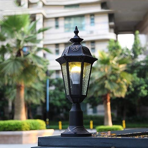 Lámpara de columna exterior retro Impermeable IP44 Pedestal Light Black Gold E27 Lámpara de jardín de