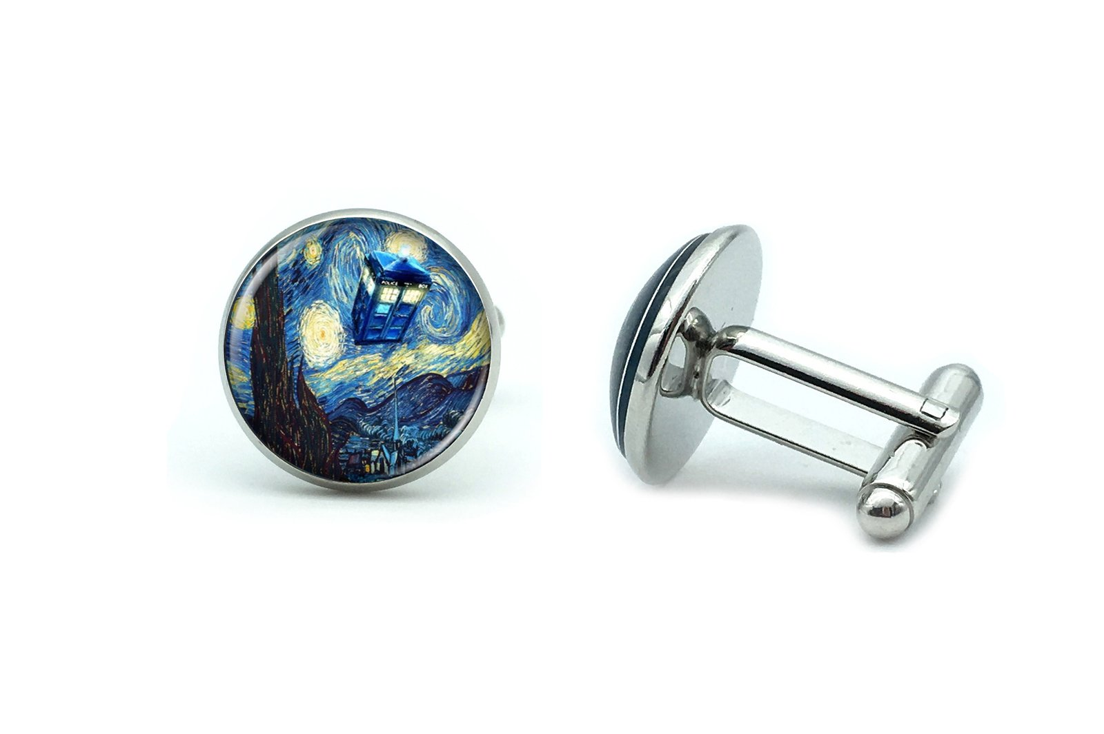 Mens' Silver Set of Cufflinks and Tie Clip Wedding Doctor Who TARDIS Starry Night Gift Box by B Seve (Image #3)