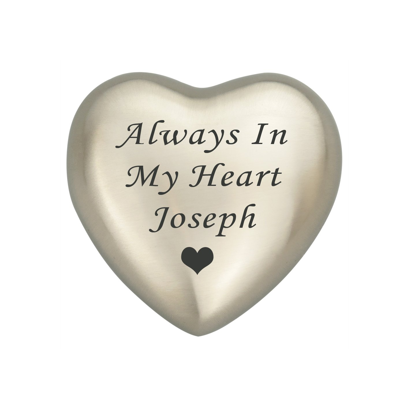 Always In My Heart Personalised Silver Heart Ashes Urn Keepsake Memorial Cremation Love to Treasure